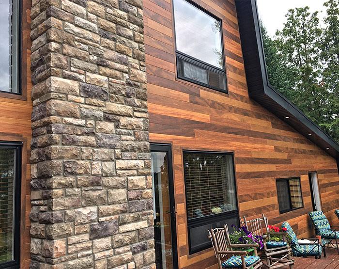 Dizal aluminum wood grain fa ades modern materials for Real wood siding